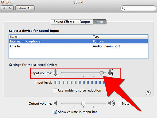 Changing the input volume